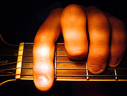 The Chord of F 'barred' on the second fret: Chords explained in Guitar lessons, Newburgh, Fife